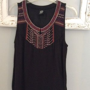 BoBeau Black Sleeveless Blouse W Embroidery Sz S